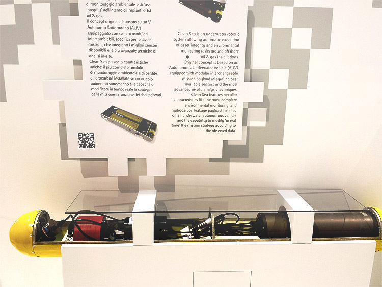 AUV with Franatech sniffer displayed at OMC Ravenna, Italy